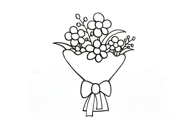 一素鲜花简笔画画法步骤图片 植物-第4张