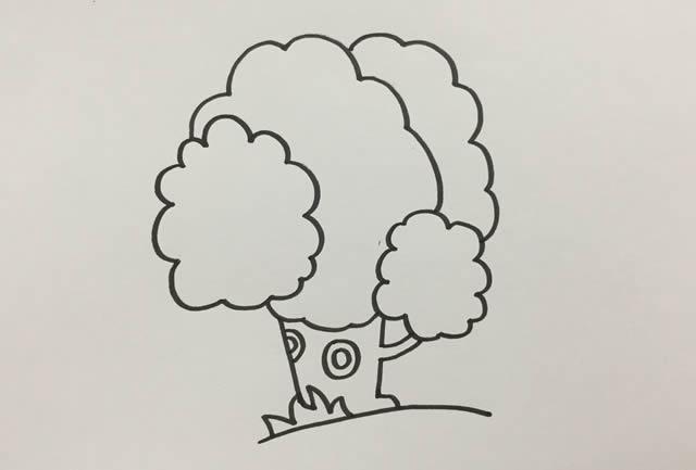 漂亮的大树简笔画画法 中级简笔画教程-第4张