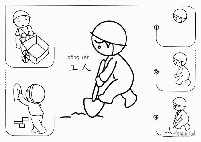 【工人简笔画】建筑工人简笔画画法 中级简笔画教程-第1张