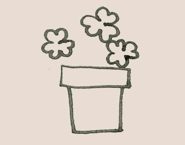 三叶草盆栽简笔画画法教程 中级简笔画教程-第6张