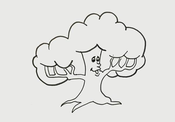 简单的卡通大树简笔画步骤图片 中级简笔画教程-第4张