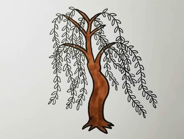 柳树画法步骤,柳树彩色画法 中级简笔画教程-第5张