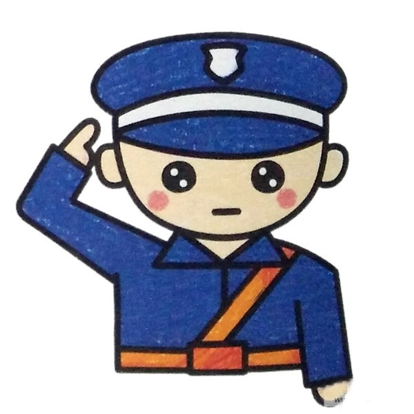 警察叔叔敬礼简笔画图片 中级简笔画教程-第1张
