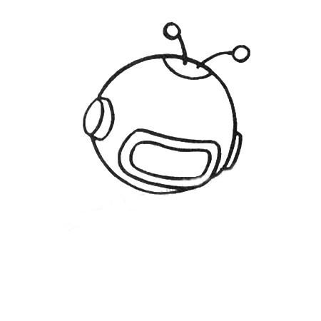 宇航员简笔画图片五步画出 中级简笔画教程-第2张