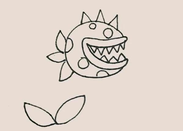 儿童简笔画食人花画法教程 中级简笔画教程-第7张