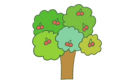 果树简笔画的画法步骤图解教程及图片大全 植物-第1张