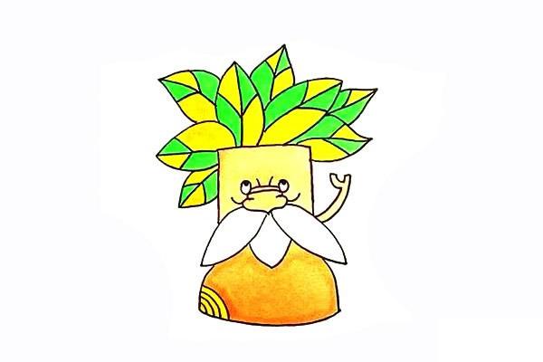 树爷爷画法步骤 卡通树爷爷简笔画彩色画法步骤图教程 植物-第1张