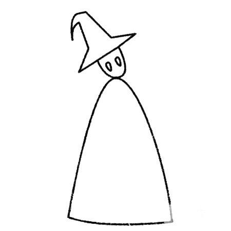 魔法师简笔画的画法步骤 中级简笔画教程-第4张