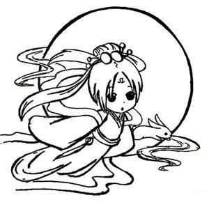 【嫦娥简笔画】卡通儿童嫦娥奔月简笔画图片大全 人物-第7张