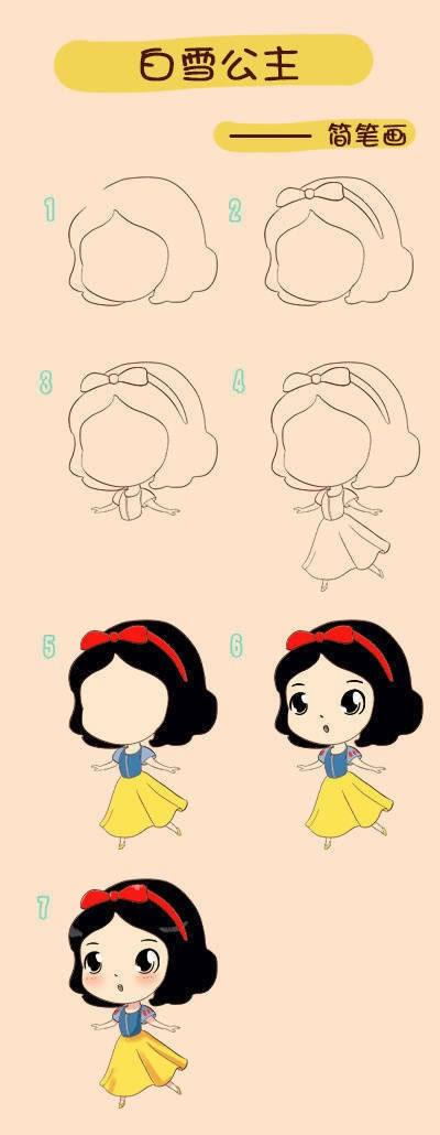教小朋友画白雪公主简笔画 中级简笔画教程-第1张