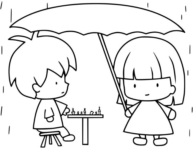 两个小朋友下棋简笔画图片 人物-第1张