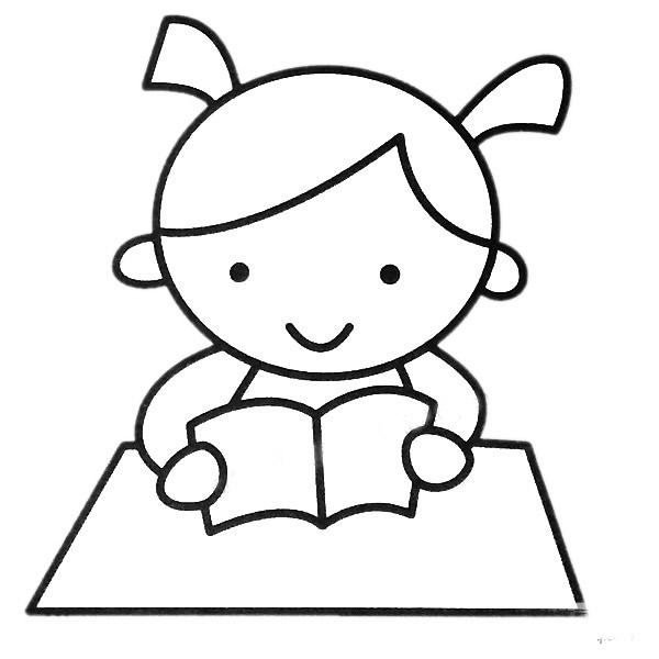 读书的小女孩简笔画填色图 中级简笔画教程-第2张