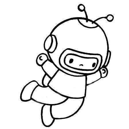 宇航员简笔画图片五步画出 中级简笔画教程-第5张
