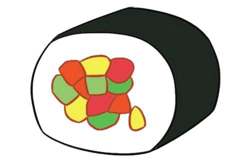 寿司简笔画完成图