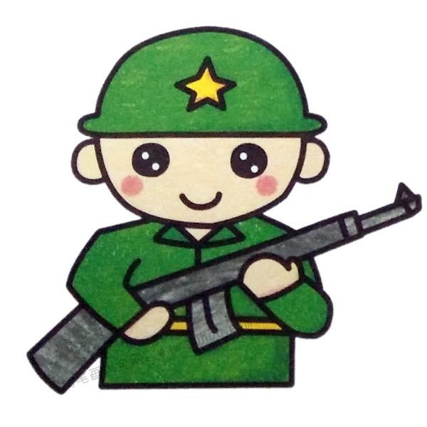 军人简笔画填色图 中级简笔画教程-第1张