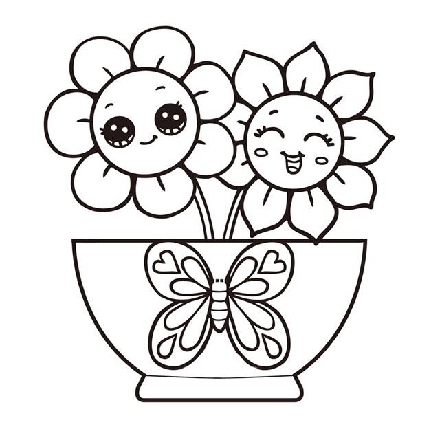 漂亮的小向日葵简笔画图画 植物-第1张