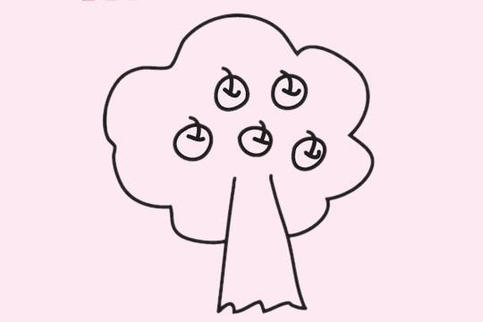 果树简笔画画法步骤图 中级简笔画教程-第9张