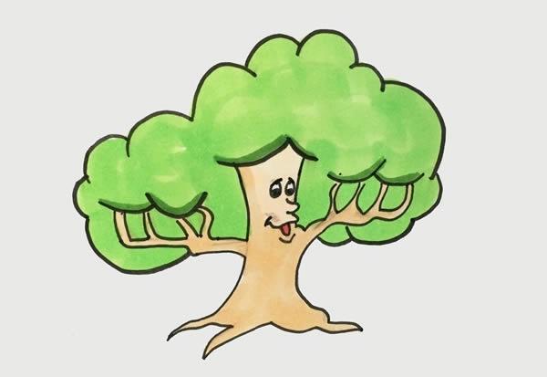 简单的卡通大树简笔画步骤图片 中级简笔画教程-第1张