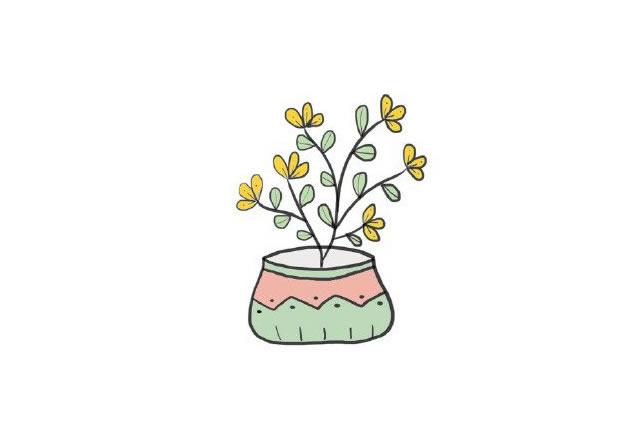 植物盆栽简笔画图画带颜色 中级简笔画教程-第9张