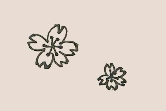 桃花简笔画的画法步骤图解教程 中级简笔画教程-第6张