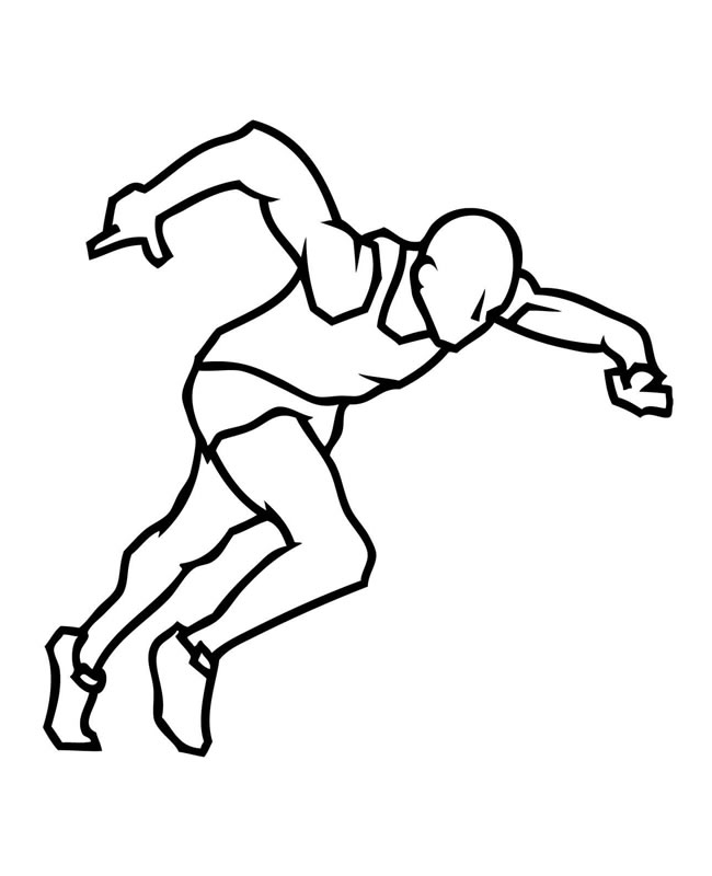 【短跑运动员】短跑运动员简笔画线稿 人物-第1张