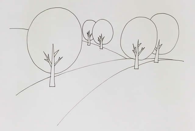 秋天风景简笔画彩色画法图片 植物-第3张
