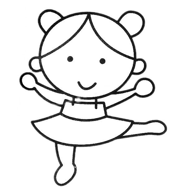 小女孩跳舞简笔画填色图 中级简笔画教程-第2张