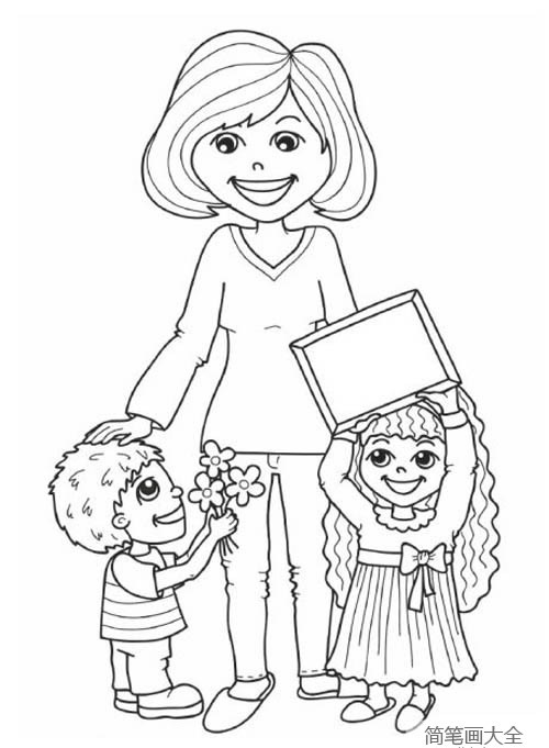 老师和学生简笔画图片 老师教导学生简笔画 老师学生手拉手简笔画 人物-第3张