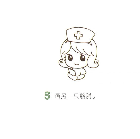 卡通护士简笔画画法步骤图 中级简笔画教程-第6张