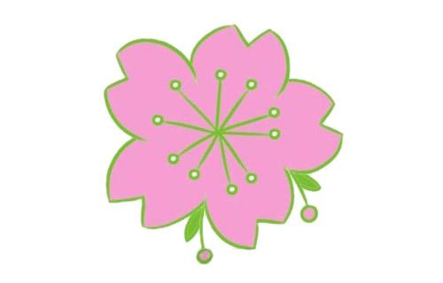 樱花简笔画的画法步骤教程及图片大全 植物-第1张
