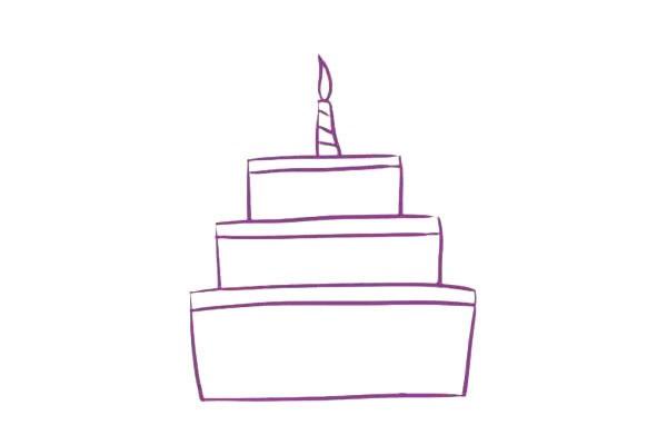 三层生日蛋糕简笔画,儿童简笔画蛋糕画法 初级简笔画教程-第5张