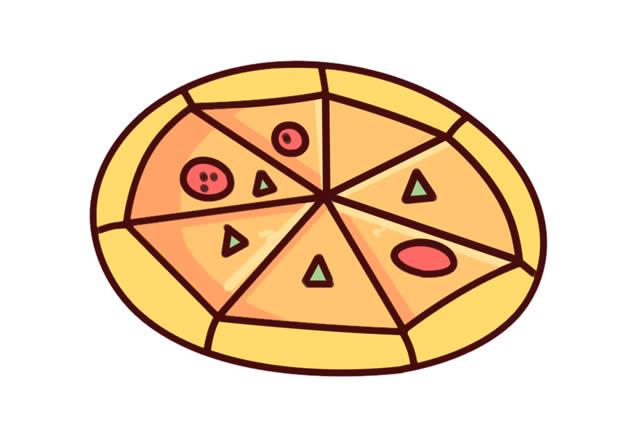 美食披萨简笔画简单画法图片