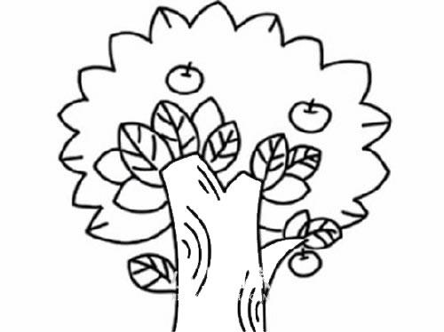 苹果树简笔画儿童画法 中级简笔画教程-第1张