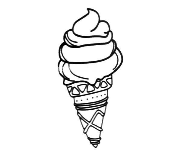 甜筒冰淇淋简笔画图片素材