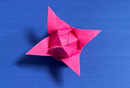花骨朵折纸的折法图解 手工折纸-第9张