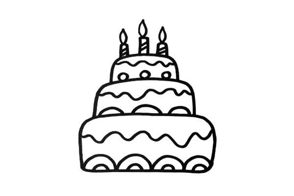三层生日蛋糕简笔画彩色画法