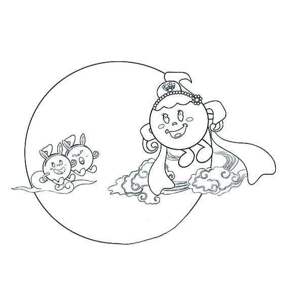 中秋节嫦娥和玉兔简笔画图片 人物-第1张