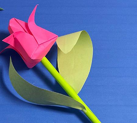 花骨朵折纸的折法图解 手工折纸-第1张