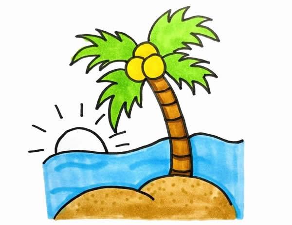 海边风景简笔画,椰子树简笔画 植物-第5张