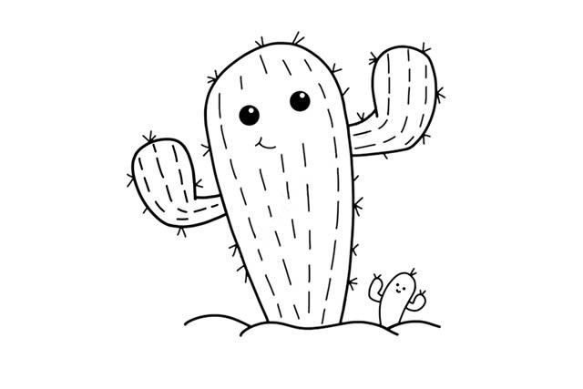 卡通仙人掌简笔画步骤 初级简笔画教程-第6张