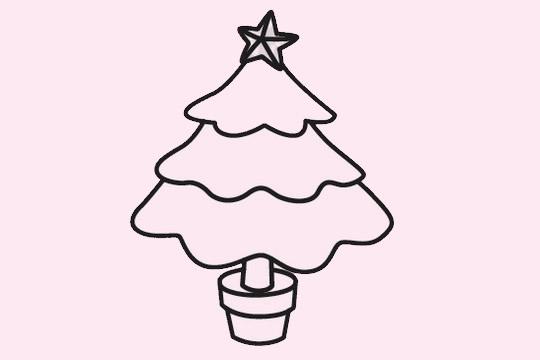 超简单的圣诞树简笔画画法 初级简笔画教程-第1张