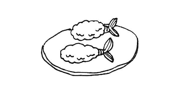 炸虾简笔画