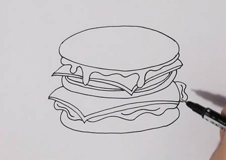 汉堡简笔画怎么画