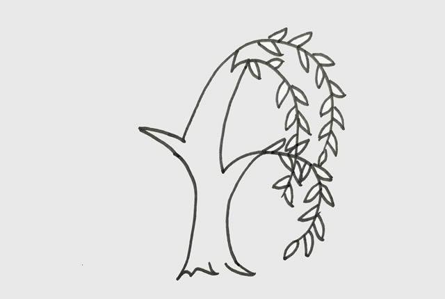 柳树简笔画 初级简笔画教程-第3张