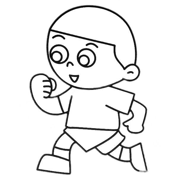 跑步的小男孩简笔画彩色图片 中级简笔画教程-第2张