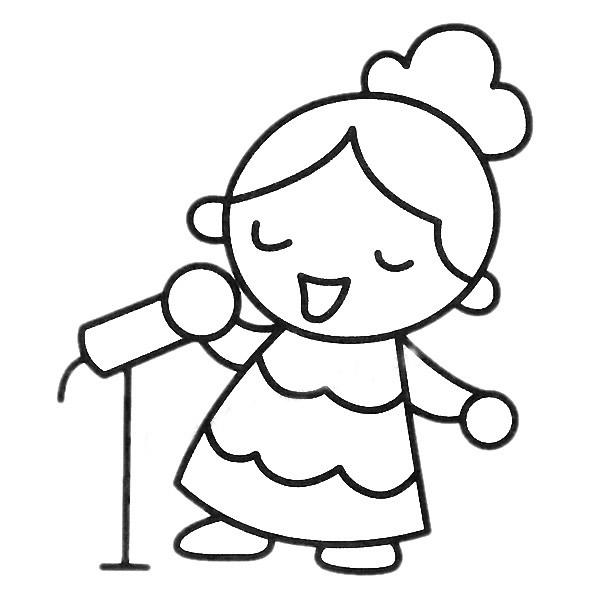 小女孩唱歌简笔画填色图 中级简笔画教程-第2张