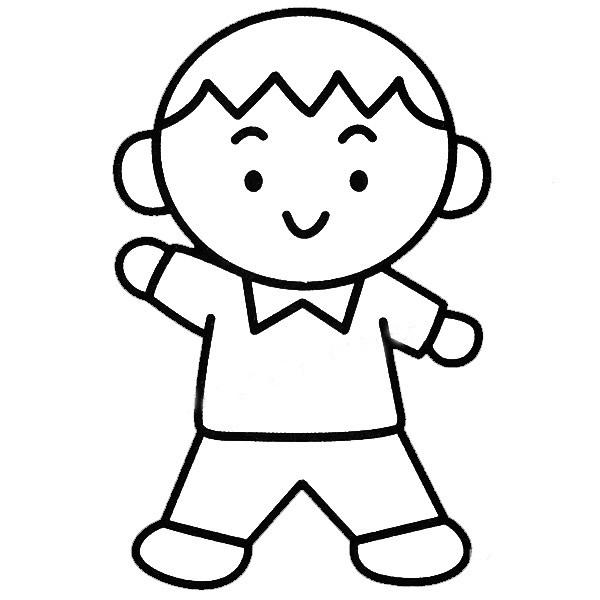简单好学的小男孩填色图 中级简笔画教程-第2张