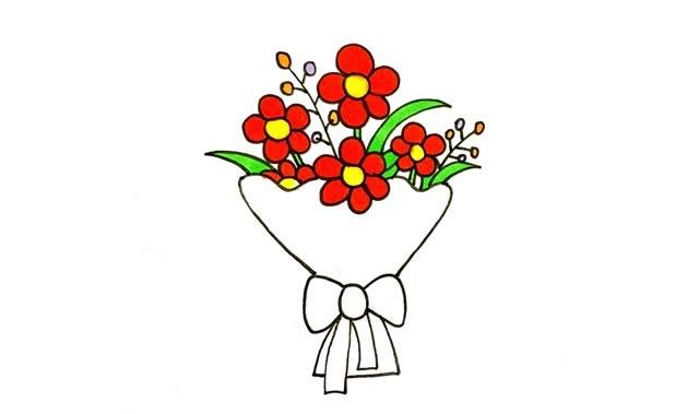 一素鲜花简笔画画法步骤图片 植物-第5张