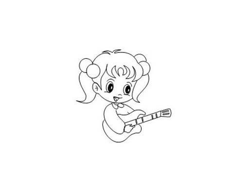 弹吉他的小女孩简笔画画法 人物-第4张