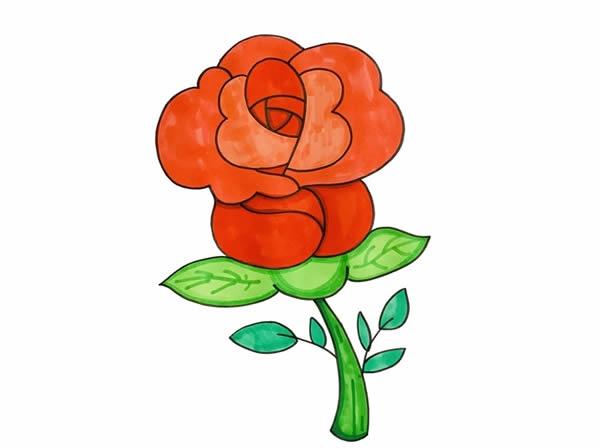 一支玫瑰花简笔画图片